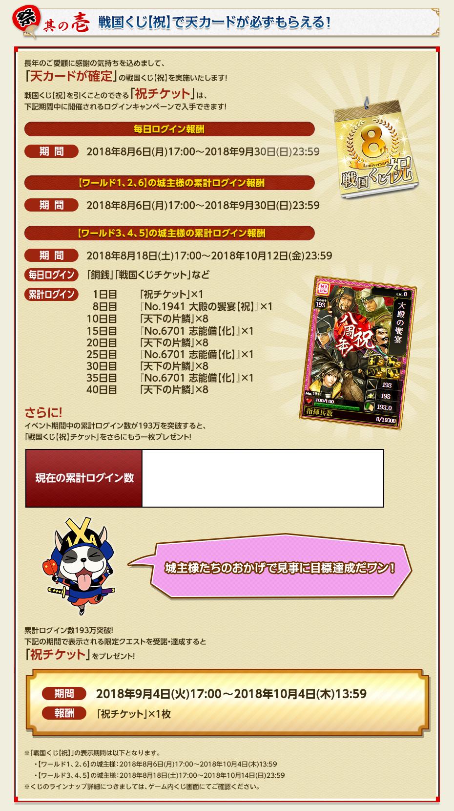 其の壱 戦国くじ【祝】で天カードが必ずもらえる!