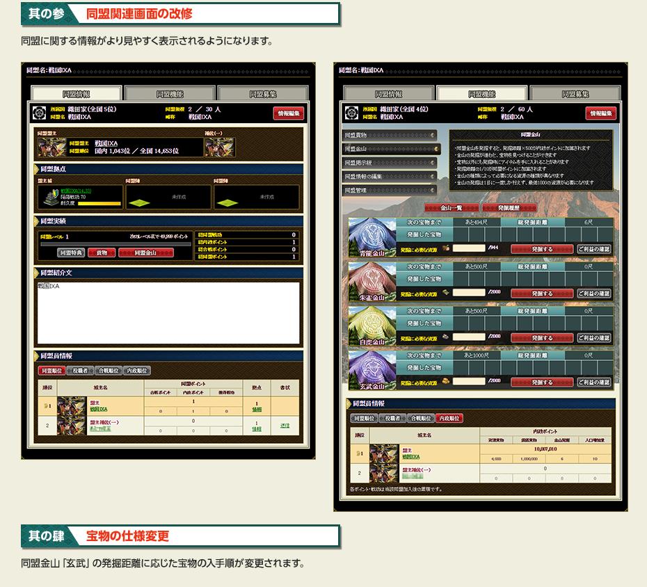 アップデート2 同盟機能の改修 其の参 同盟関連画面の改修 其の肆 宝物の仕様変更