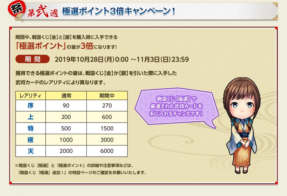 第弐週 極選ポイント3倍キャンペーン!